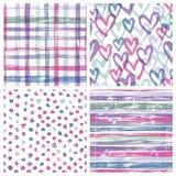 Set of four seamless patterns Stock Image