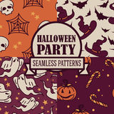 Set of four seamless patterns for halloween party. Vector illustration Royalty Free Stock Photography
