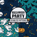 Set of four seamless patterns for halloween party. Vector illustration Royalty Free Stock Photo