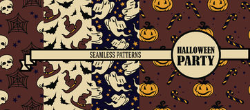 Set of four seamless patterns for halloween party. Vector illustration Royalty Free Stock Image
