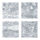 Set of four seamless patterns with hand-drawn doodle waves and lines. Royalty Free Stock Photos