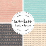 Set of four  seamless patterns with hand drawn elements. Pink. grey, beige and turquoise colors Royalty Free Stock Images