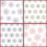 Set of four seamless patterns with hand drawn Royalty Free Stock Images