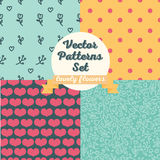 Set of four seamless patterns. Hearts and flowers backgrounds, vector illustration Royalty Free Stock Images