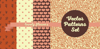 Set of four seamless patterns. Hearts and flowers backgrounds, vector illustration Royalty Free Stock Photos