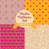 Set of four seamless patterns. Hearts and flowers backgrounds, vector illustration Stock Images