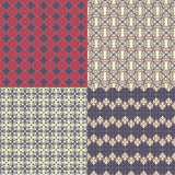 Set of four seamless patterns. Kazakh, Asian, floral, floral pat Stock Image