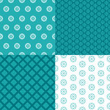 Set of four seamless patterns. Kazakh, Asian, floral, floral pat Stock Photo