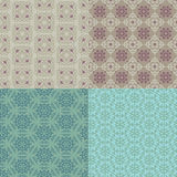 Set of four seamless patterns. Kazakh, Asian, floral, floral pat Stock Photography