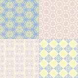Set of four seamless patterns. Kazakh, Asian, floral, floral pat Royalty Free Stock Photo