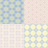 Set of four seamless patterns. Kazakh, Asian, floral, floral pat Royalty Free Stock Photo