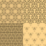 Set of four seamless patterns. Kazakh, Asian, floral, floral pat Royalty Free Stock Photography