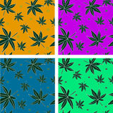 Set of four seamless patterns with leaves Stock Image