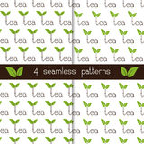 Set of four seamless patterns with lettering tea Royalty Free Stock Photo