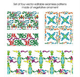Set of four seamless patterns made of vegetative o Stock Photos