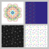 A set of four seamless patterns. The pattern of spirals. Multicolored small spiral on a dark and a light background. Vector pattern Royalty Free Stock Images