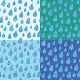 Set of four seamless patterns with rain drops stock illustration