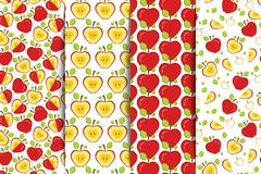 Set of four Seamless patterns with red whole and half sliced apples on a white background. Fruit Background for print. Vector illustration Stock Images