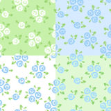 vector set of four seamless patterns with roses. stock illustration