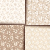 Set of four seamless patterns with roses. Vector eps-10. Set of four vector beige seamless patterns with roses Royalty Free Stock Photography
