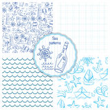 Set of four seamless patterns with sea elements. Vector illustration Royalty Free Stock Photo