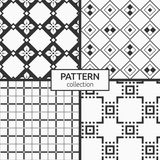 Set of four seamless patterns. Abstract geometric trendy vector backgrounds. Modern stylish textures of rhombuses and four-petal flowers, squares and Stock Photography