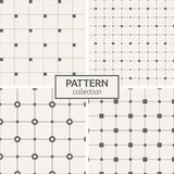 Set of four seamless patterns. Abstract geometric vector backgrounds. Modern stylish textures of repeating lines and dots, filled rectangles, squares connected Stock Photos
