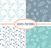 Set of four seamless patterns with spring Leaf. Royalty Free Stock Images