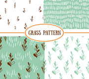 Set of four seamless patterns with spring plants. Stock Photo