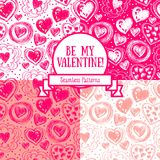 Set of four seamless patterns for valentine`s day with doodle hearts Stock Photo