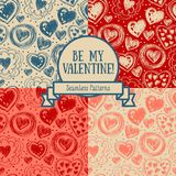 Set of four seamless patterns for valentine`s day with doodle hearts Royalty Free Stock Photo
