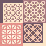 Set of four seamless patterns. Vintage geometric ornaments. Stock Image
