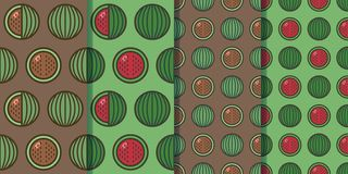 Set of four seamless patterns with watermelons in one style. Colorful illustration, eps10 royalty free stock photos