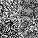 Set of four seamless patterns. Waves background,  illustration Royalty Free Stock Photos