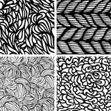 Set of four seamless patterns. Waves background,  illustration Royalty Free Stock Images