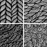 Set of four seamless patterns. Waves background,  illustration Stock Image
