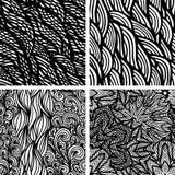 Set of four seamless patterns. Waves background,  illustration Royalty Free Stock Photo