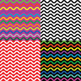 Set of four seamless patterns with wavy lines Stock Image