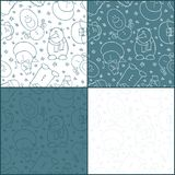 Set of four seamless patterns witn snowmen. Grey blue and white color backgrounds. Shy, complacent, hipster, surprised, happy and smiling characters. Vector Stock Photography