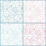 Set of four seamless patterns witn snowmen. Blue and red color monochrome backgrounds. Shy, complacent, hipster, surprised, happy and smiling characters Royalty Free Stock Photography