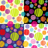 Set of four seamless pattersns with round shapes Stock Photos