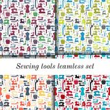 Set of four seamless sewing tools patterns Stock Photos