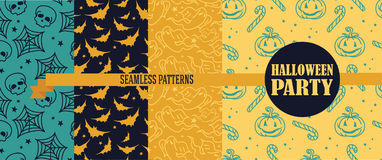 Set of four seamless textures for Halloween. Vector illustration Royalty Free Stock Photos