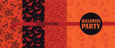 Set of four seamless textures for Halloween. Vector illustration Stock Photo