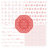 Set of four seamless valentines patterns Stock Photos