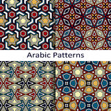 Set of four seamless vector arabic patterns Stock Photo