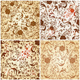 Set of four seamless vintage floral backgrounds Stock Photography