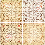 Set of four seamless vintage floral backgrounds Royalty Free Stock Photo