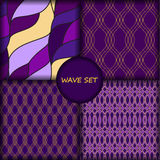 Set of four seamless wave pattern.  Royalty Free Stock Images