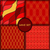 Set of four seamless wave pattern.  Stock Photos